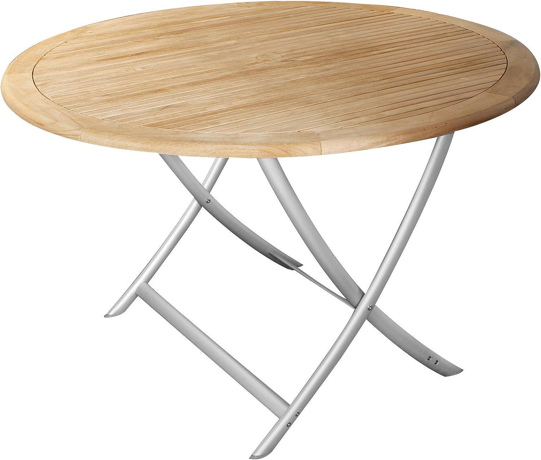 Echt Teak Tisch Gartentisch Teaktisch Mit Alubeinen Rund O 120 Cm
