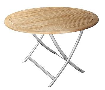 Echt Teak Tisch Gartentisch Teaktisch Mit Alubeinen Rund O 120 Cm X