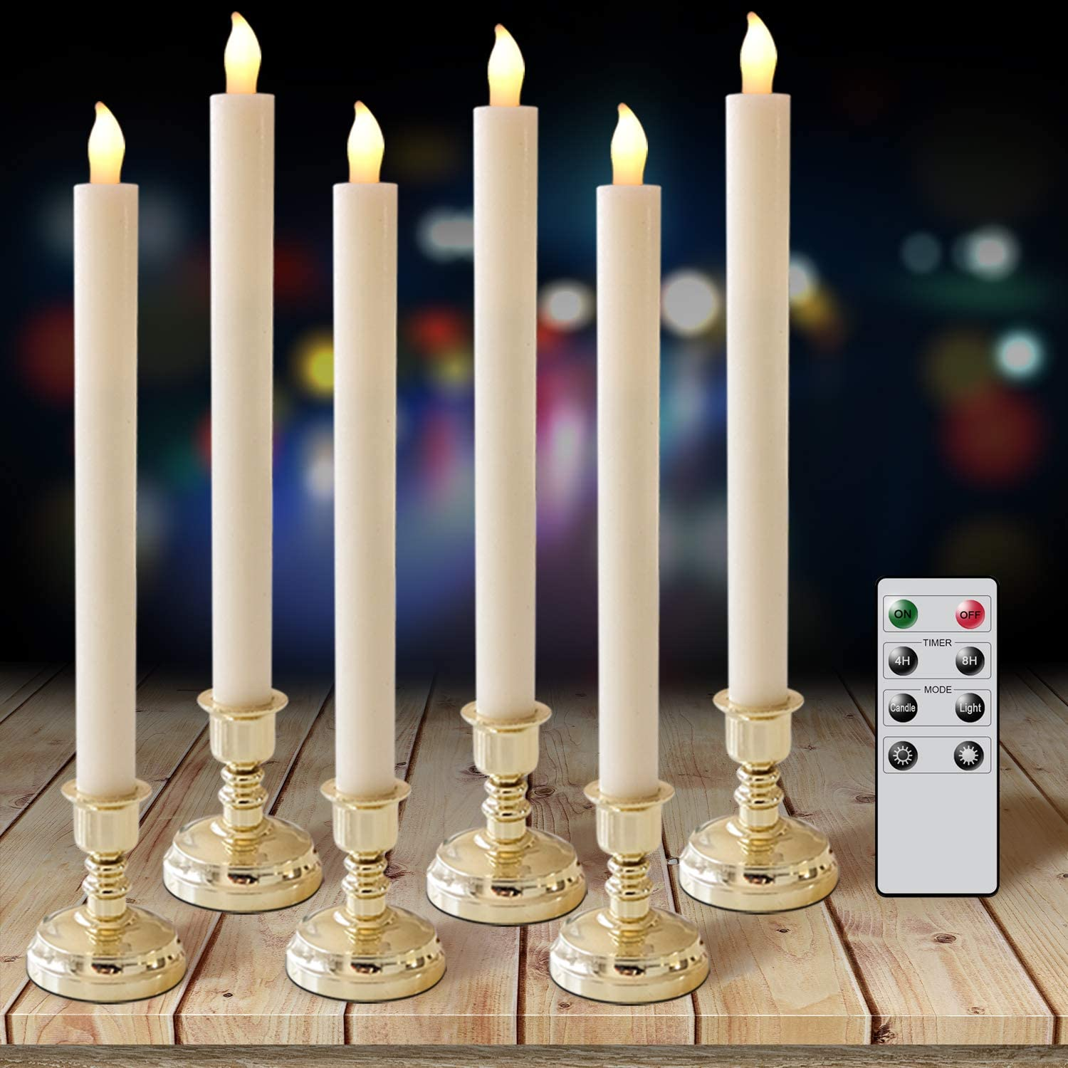 Eldnacele Flameless Taper Candles Battery Operated Led Window Candles With Remote Timer Set Of 6 Real Wax Warm White Candles Dripless For Decoration Ivory Amazon Co Uk Lighting