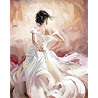 DIY oil painting Paint by number kit per bambini adulti principianti 40,6x 50,8cm–elegante sposa della decorazione di Natale, disegno con spazzole decorazioni regali
