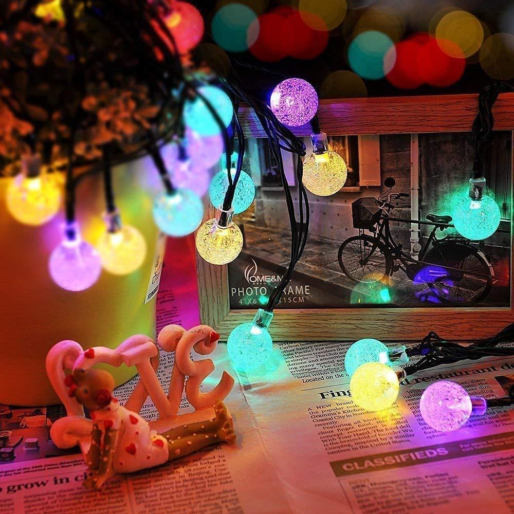 Hochzeiten Energieklasse A++ B/äume Partys Weihnachten DeepDream Solar Lichterkette Au/ßen mit LED Kugel 7.5M 40LEDs 8 Modi IP65 Wasserdicht Bunt,Kristallb/älle Beleuchtung f/ür Garten