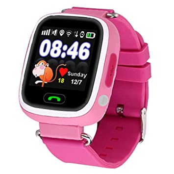 Kids Children Smart 1.22 inch IPS Color Touch Screen SOS Call GPS LBS WiFi Location Tracker Safe Anti Lost Monitor Smart Watch English Version (Rose ...