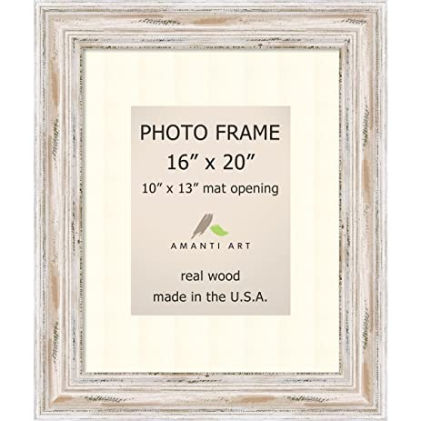 Amazon.com: Picture Frame, 16x20 Matted to 10x13 Alexandria White ...