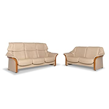 Stressless Designer Leather Sofa Set Beige Two-Seater ...