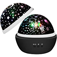 Night Light Projector, Amazer-T 2 in 1 Ocean Undersea Lamp and Starry Sky Projector, 360° Rotating 8 Colors Mode LED…