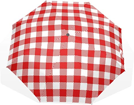 Paraguas Vintage Cuadros rojos Cuadros Guinga 3 pliegues Ligero ...