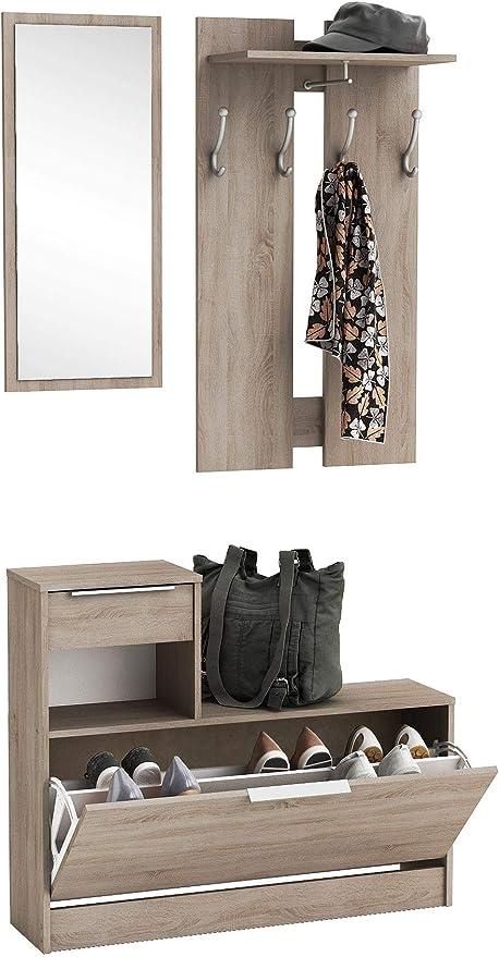 Abitti Recibidor vestidor con Zapatero abatible Color Roble con Espejo. para Entrada, Pasillo o Dormitorio. 200x92cm: Amazon.es: Hogar