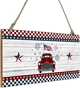 Miss Sweetheart Hanging Wall Decor Wooden Sign-Independence Day Red Truck Carrying American Flag Wooden Board,Welcome Door Sign Wood Plaque for Home Living Room Bedroom Bathroom Farmhouse Wall Decor