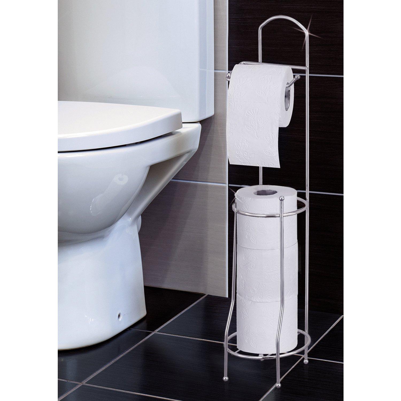 Tatkraft Grace Toilet Paper Holder Freestanding Bathroom Toilet Tissue Paper Roll Storage Holder Stand, Chrome Finish
