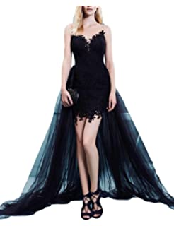 LMBRIDAL Womens Scoop Neck Lace Prom Dress Cocktail with Detachable Train EVD13