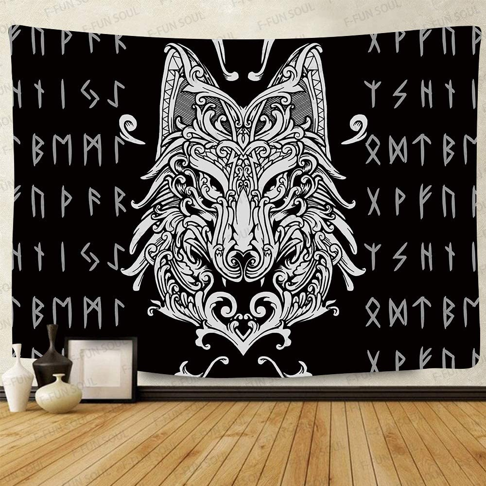 F-FUN SOUL Viking Wolf Tapestry, Large 80x60inches Soft Flannel, Viking Meditation Runes Ancient Art Wall Hanging Tapestries for Living Room Bedroom Decor Banner GTZYFS419