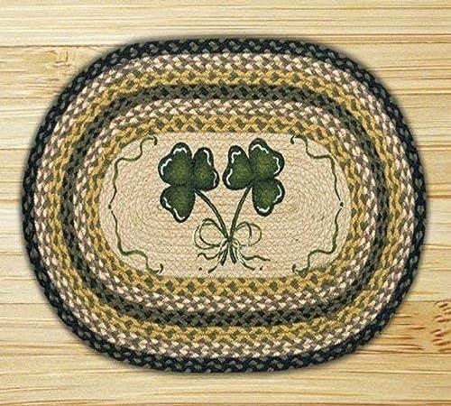 Earth Rugs Shamrock Design Rug, 20 x 30 , Black Mustard Cr me