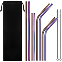 Set of 8 Stainless Steel Straws, Howiseacc FDA-Approved Drinking Rainbow Metal Straws with Cleaning Brush for 20 30 Oz RTIC Tumbler Yeti or Ozark Trail Ramblers Cups - Multicolor