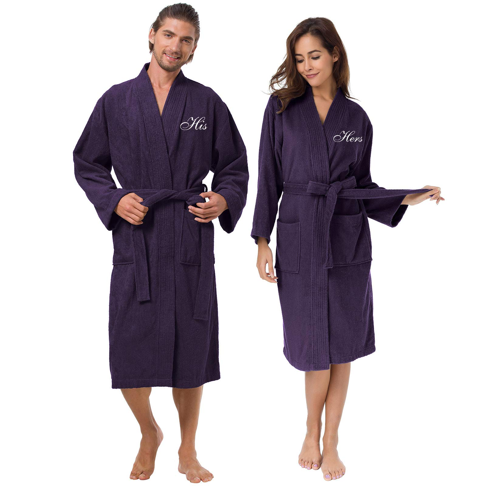 AW Terry Cotton Couple Robe Set Spa Bathrobes for Women and Men - Embroidery His and Her Purple Kimono Hotel Robe