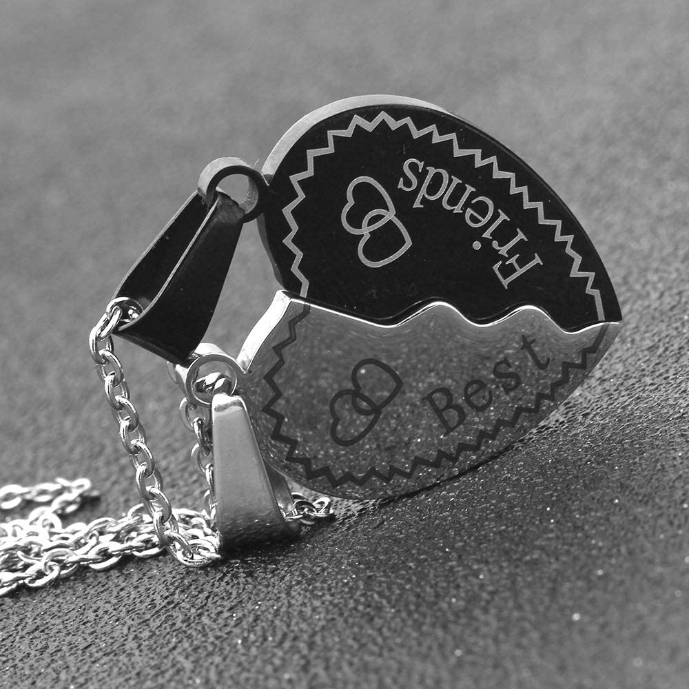 Osye BFF Necklaces for 2 Split Heart Best Friends Forever Pendant Friendship Engraved Heart Charm Pendant Necklace