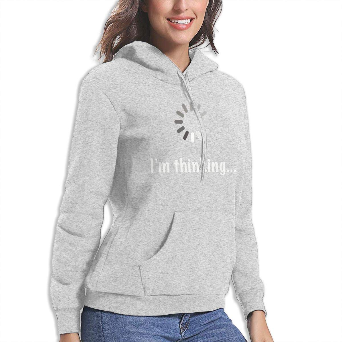 Conner Im Thinking Womens Hooded Pocket Casual Sweater Delphia N
