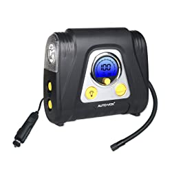 AUTO-VOX Automatic 12V Portable Air Compressor with Auto-Off Digital Pressure Display and 5 Nozzle Adaptors Programmable Tire Inflator for Tires Balls and Other Inflatables Air Bed Mattress