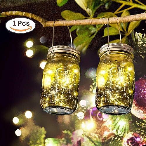Solar Garden Lanterns Outdoor - SUNNOW Hanging Solar Garden Lights, Mason Jar Lights, Christmas Lights, LED String Fairy Lights for Garden Deck Patio Party Wedding Christmas Decorative Lighting