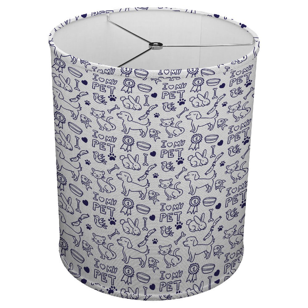 Hardback Linen Drum Cylinder Lamp Shade 8'' x 8'' x 8'' Spider Construction [ I Love My Pet ]