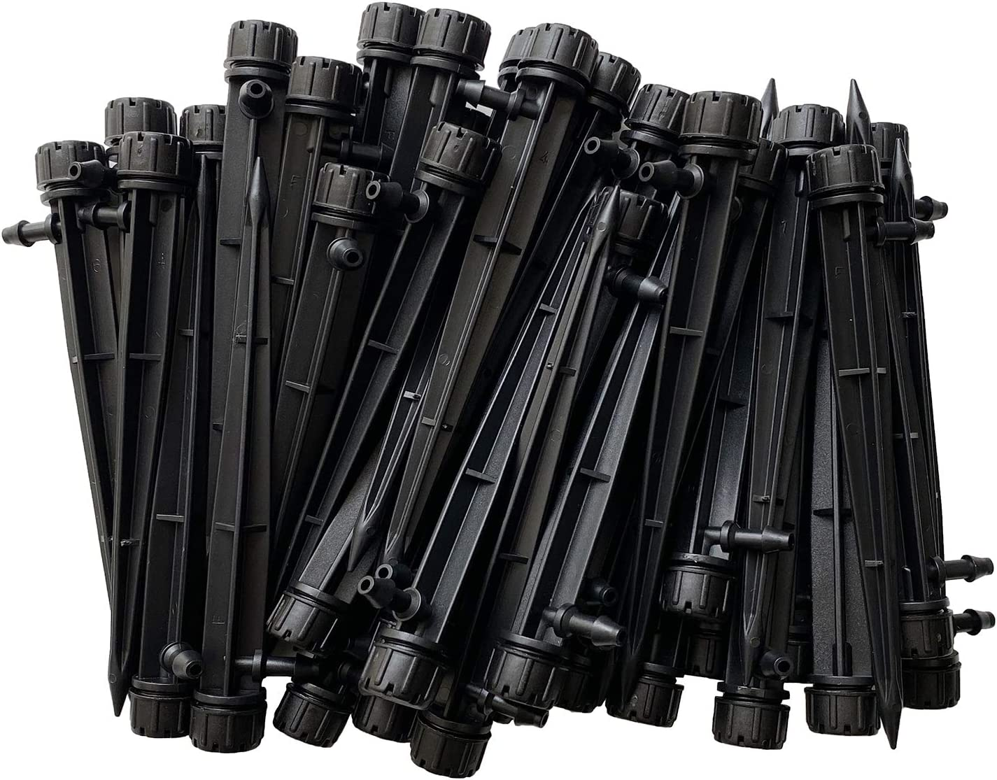 WANBAO 100 Pcs Drip Emitters Sprayer for 1/4 inch Irrigation Tube Hose, Adjustable 360 Degree Water Flow Irrigation Drippers on Stake for Lawn and Garden.