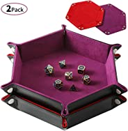 Highway 2 Pcs Portable Folding Dice Rolling Tray Set for RPG DND Table Games - PU Leather and Velvet Holder Storage Box - Re