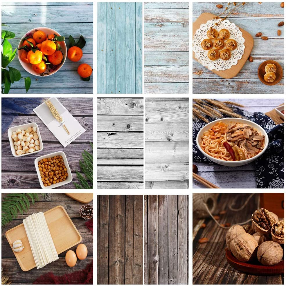 Meking 3 Pack 22x34in Double Sided Backgrounds for Photography, Wood Texture Food Photography Backdrops Paper for Small Product Photo Video Studio Flat Lay Shooting Props
