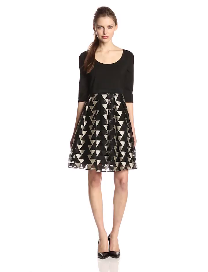 Plenty by Tracy Reese Dresses Women's Eliza Solid 3/4 Sleeve Scoop Bodice with Printed Skirt Dress, Ivory/Black, 6