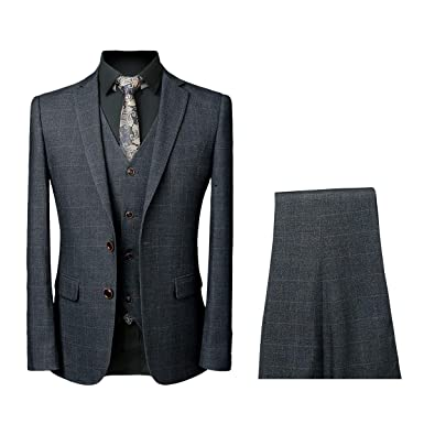 Allthemen Tute da Uomo Tute da Uomo Slim Fit 3 Pezzi Tuta da Uomo One Button Formal Suit Giacche Blazer Gilet
