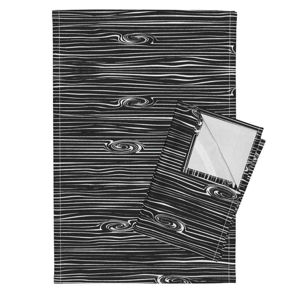 Woodgrain Fabric Tea Towels Wood Woodgrain Black and White Wood Texture Wood Fabric Faux Wood by Littlearrowdesign Set of 2 Linen Cotton Tea Towels