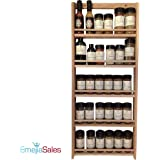 EmejiaSales Oak Spice Rack Wall Mount (5-Shelf Design), Hanging Natural Wood Organizer, Holds 30 Herb Jars – Kitchen Accessory for Seasonings