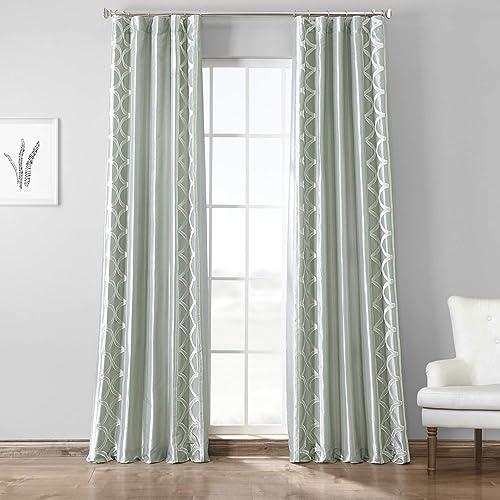 HPD Half Price Drapes EFSCH-18053C-120 Designer Embroidered Curtain 1 Panel , 50 X 120, Espalier Sterling Grey
