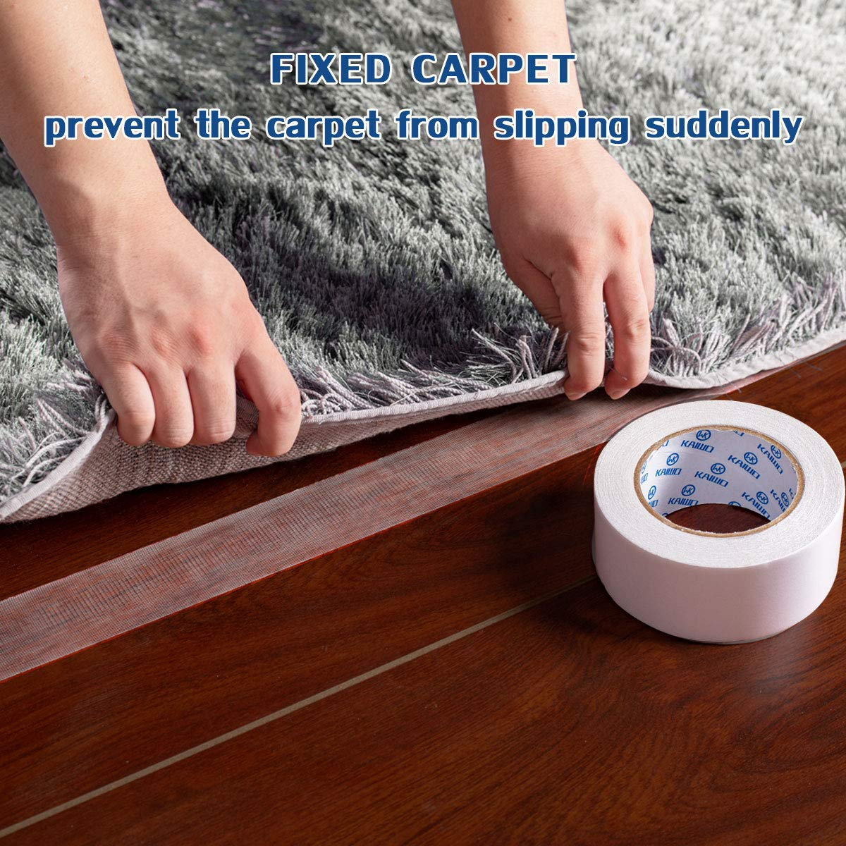 Rug Grippers for Hardwood Floors Removeable and Multipurpose Tape 3 Rolls Double Sided Heavy Duty Carpet Tape White 2 Inch x 20 Yards