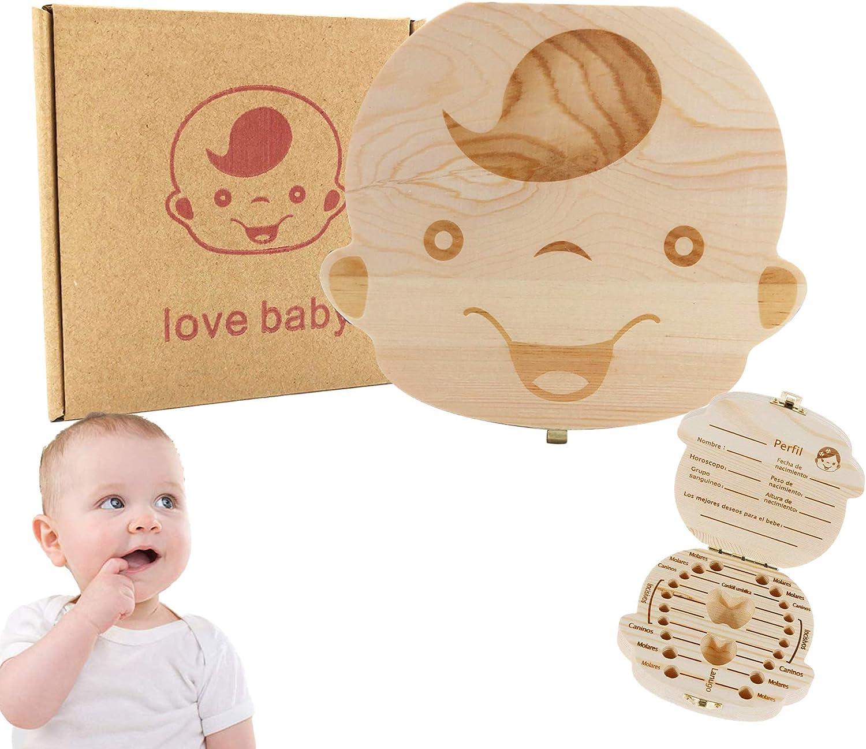 Hecha a mano hermosa bebé registro de crecimiento Niño niña Caja de almacenamiento de dientes deciduos Caja de almacenamiento de madera Caja dental para almacenar al bebé (Niño)