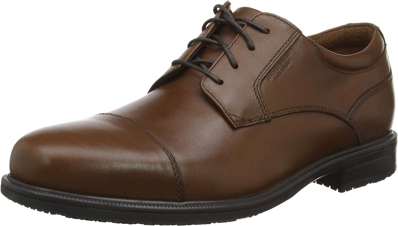 Rockport Esntial Dtlii Captoe Tan Antique Le, Zapatos de Cordones Oxford para Hombre