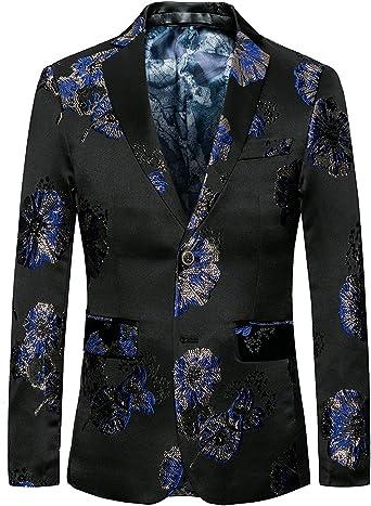 HaiDean Chaqueta De Traje De Clásico Negro Chaquetas Hombre Modernas Casual Jacquard Floral Juego De Corte Slim Fit Traje De Boda Esmoquin Chaqueta De Traje De Hombre Blazer: Amazon.es: Ropa y accesorios