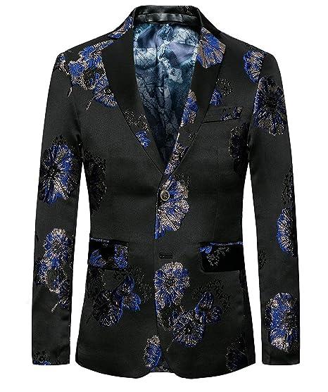 Chaqueta De Traje De Negro Clásico Hombre Chaquetas Simple Estilo Jacquard  Floral Juego De Corte Slim bfbd2ce01a8dd