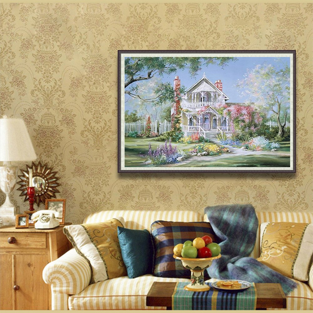 Blxecky 5D DIY Diamond Painting By Number Kits,castle(12X16inch//30X40CM)