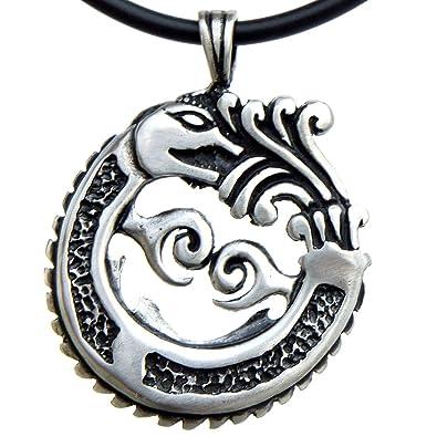 Amazon aztec mayan ouroboros dragon quetzalcoatl pewter pendant aztec mayan ouroboros dragon quetzalcoatl pewter pendant charm amulet necklace black pvc cord aloadofball Image collections