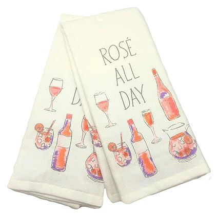 Amazon Com Casaba Rose All Day Wine Kitchen Towel Set Home