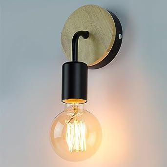 Dexors Applique Murale Rétro Industrie Lampe Bois Métal Noir