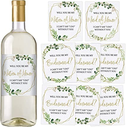 Maid of Honor Bridesmaid Proposal Wine Bottle Label Listing Bridal Proposal Matron of Honor Wine Favors