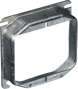 """Hubbell 780 Raco Mud-Ring Raised Square Electrical Box Cover, 4 In L X 4 In W X 1 In T, Gray, Steel, 4"""""""