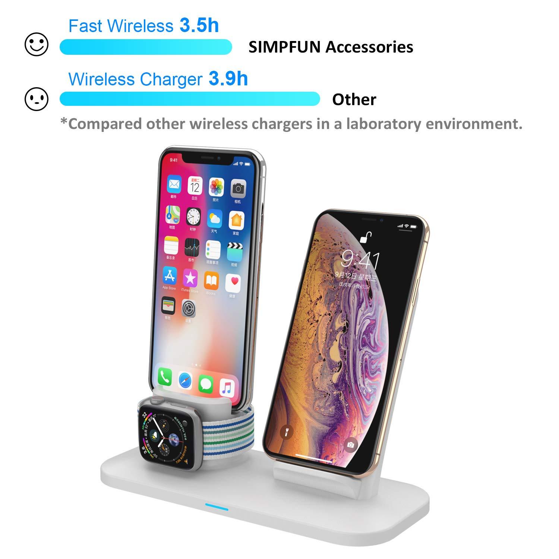 Gris SIMPFUN Soporte de Carga W01 3 en 1 Estaci/ón de Carga R/ápida Qi Inal/ámbrica Compatible para iPhone X XS MAX XR 8 Plus AirPods e iWatch Series 4//3//2//1