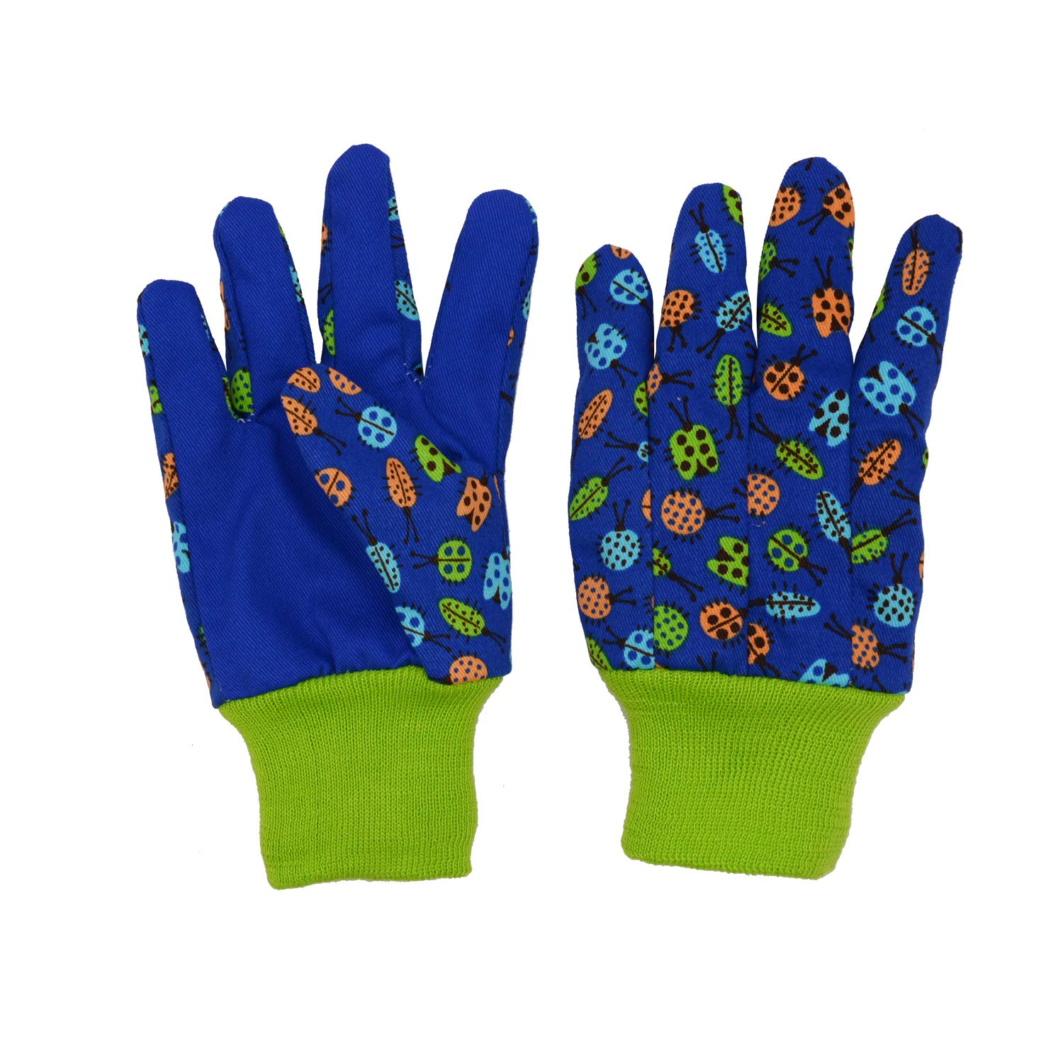 age 7-8 Dot /& Butterfly /& Ladybird Print 2 Pairs Cotton Garden Gloves for girls boys Green Medium ladybird+ dot age7-8 Kids Gardening gloves for age 5-6