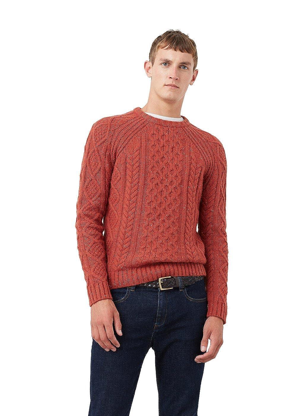 2b004779d213 MANGO MAN - Cable-knit wool-blend sweater - Size XL - Color Orange ...