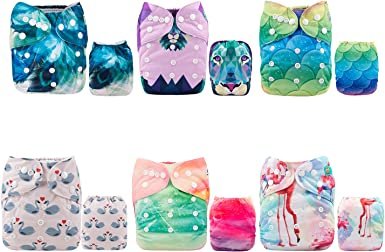 ALVABABY Cloth Diapers One Size Adjustable Washable Reusable One Pocket Nappy for Baby Girls and Boys with 2 Inserts