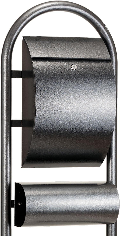 Hammerschlag Design Postkasten Rundbogen Briefkasten aus Stahl in Hammerschlagoptik Designer Mailbox mit Zeitungsrolle // Zeitungsfach abschlie/ßbar ZELSIUS Standbriefkasten