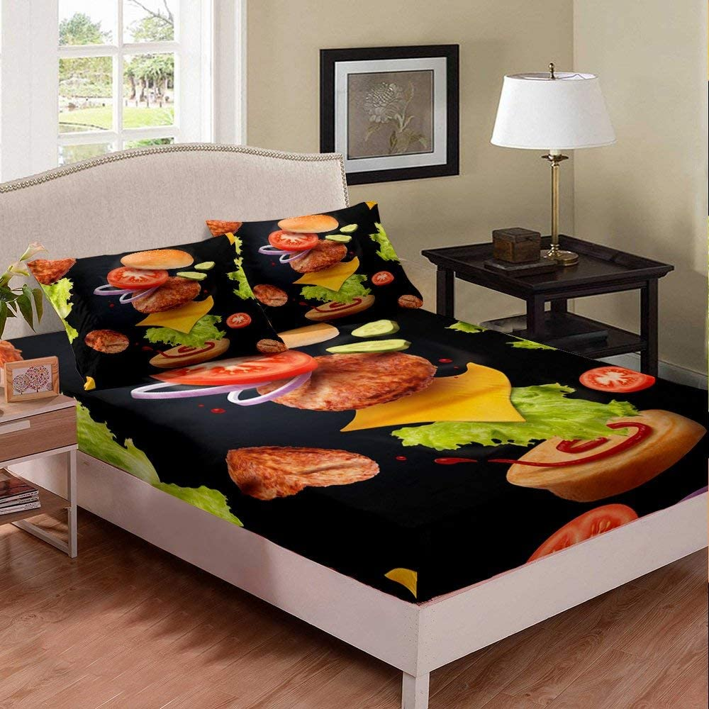 Erosebridal Burger Bed Cover Full Size Barbecue Fitted Sheet Food Theme Bedding Set Fast Food Bed Set Black Fitted Sheet for Kids Boys Girls Teens Adult Stylish Room Decorative