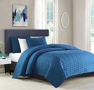 BOURINA Reversible Bedspread Coverlet Set - Microfiber Lightweight Comforter 3-Piece Quilt Set King, Turquoise