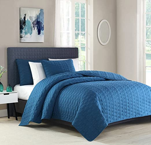 Teal Quilted Microfiber Plush Flannel Sherpa Reversible Comforter 3pc Set King